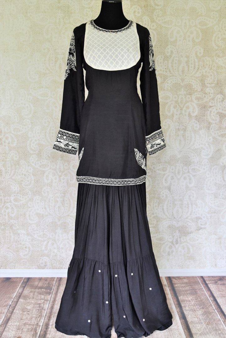 Shop black embroidered mulberry silk suit online in USA. Update your saree wardrobe with stunning Indian designer suits from Pure Elegance Indian fashion store in USA. Shop now.-full view