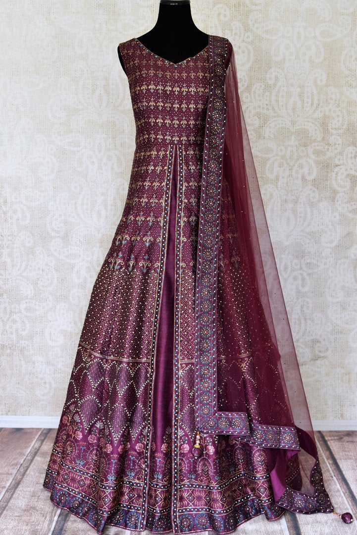 Buy beautiful wine color stone work silk Anarkali suit in USA with dupatta. Shine bright on weddings and special occasions with beautiful Indian dresses, designer lehengas from Pure Elegance Indian fashion store in USA.-full view