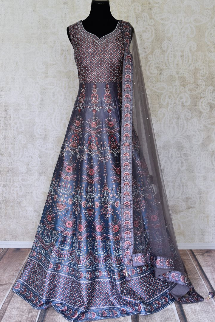 Shop stunning blue stone work silk floorlength Anarkali suit in USA with dupatta. Shine bright on weddings and special occasions with beautiful Indian dresses, designer lehengas from Pure Elegance Indian fashion store in USA.-full view