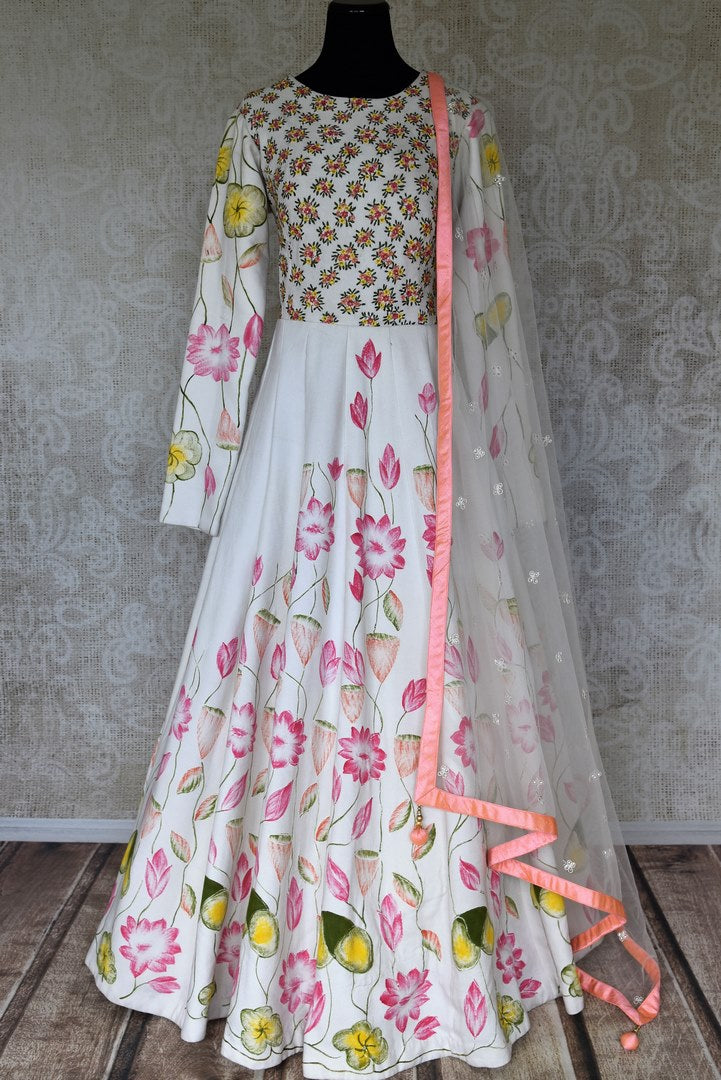 Buy white embroidered and printed cotton silk Anarkali suit online in USA with dupatta. Relive tradition in Indian designer lehengas from Pure Elegance Indian clothing store in USA. Enhance your ethnic look with Indian dresses, Anarkali suits and Indowestern dresses available online.-full view
