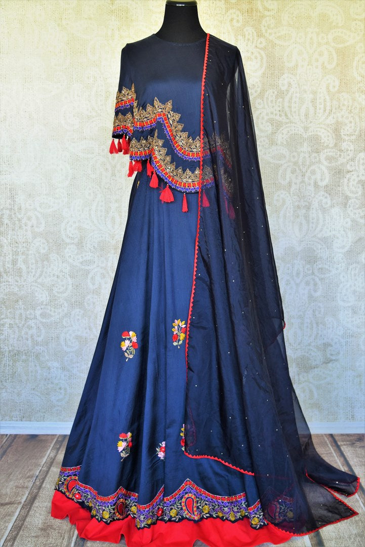 Buy blue hand embroidery silk Anarkali online in USA with dupatta. Relive tradition in Indian designer suits from Pure Elegance Indian clothing store in USA. Enhance your ethnic look with Indian dresses, Anarkali suits and Indowestern dresses available online.-full view