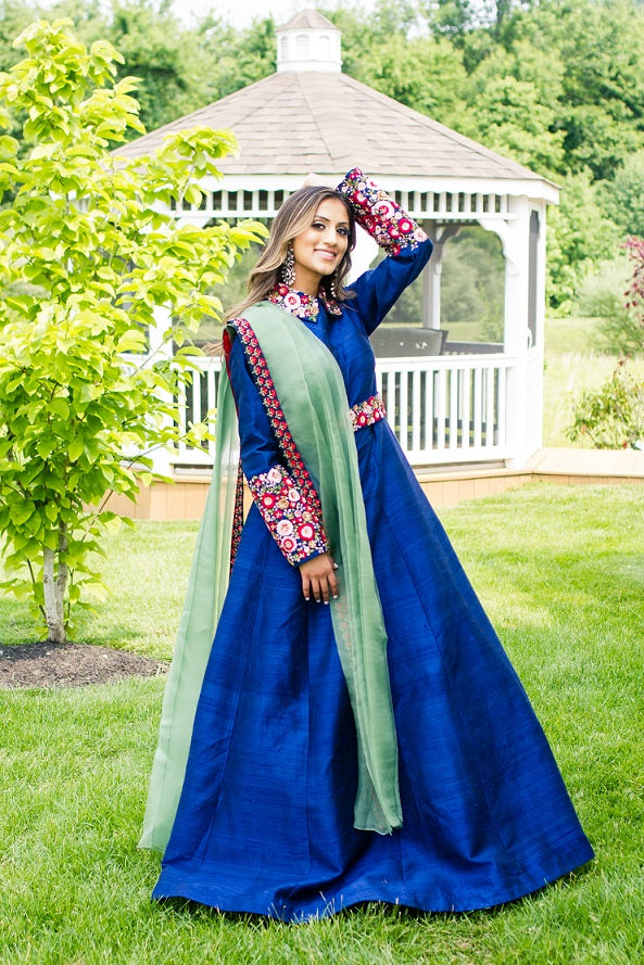 Shop blue raw silk embroidered Anarkali online in USA with green dupatta. Look glamorous at weddings and special occasions with a range of exquisite Indian designer lehengas from Pure Elegance Indian clothing store in USA.-full view