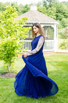 Shop blue georgette embroidered Anarkali dress online in USA. Look glamorous at weddings and special occasions with a range of exquisite Indian designer Anarkalis from Pure Elegance Indian clothing store in USA.-side