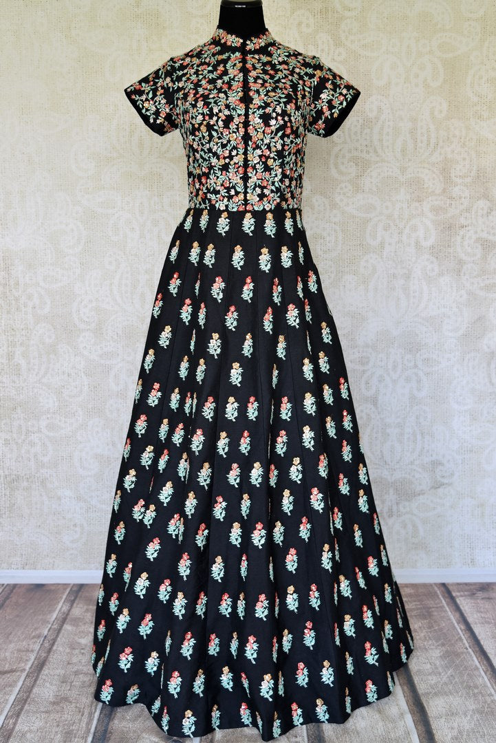Buy black embroidered silk Anarkali gown online in USA. Radiate ethnic charm with beautiful Indian designer clothes from Pure Elegance Indian clothing store in USA. Choose from a variety of Anarkali suits, designer Indian suits, designer lehengas for special occasions.-full view