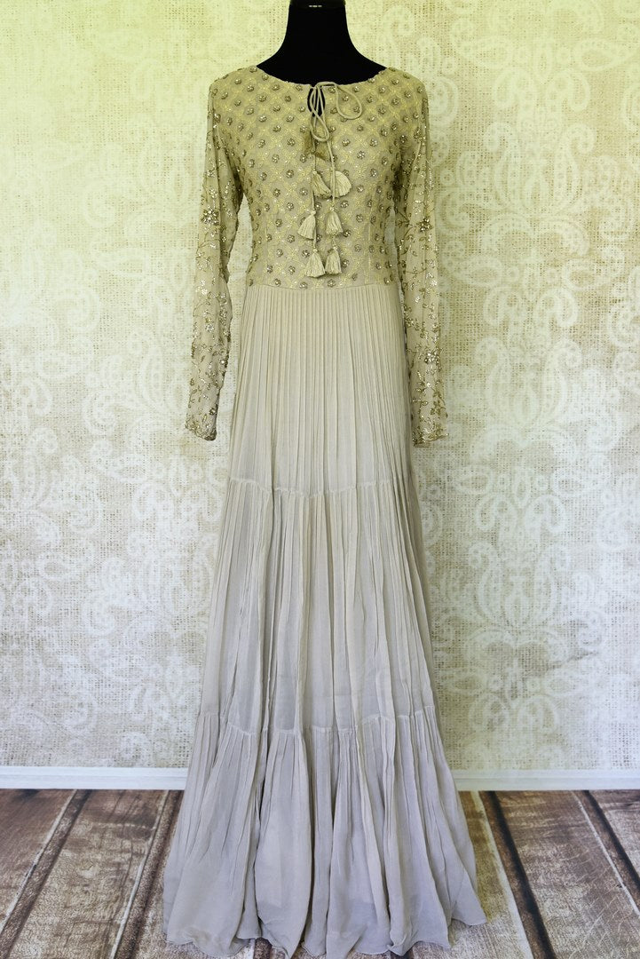 Buy grey Lucknowi embroidery georgette gown online in USA. Be a vivid picture of ethnic fashion with an exquisite range of Indian designer clothing from Pure Elegance Indian clothing store in USA. Shop online.-full view