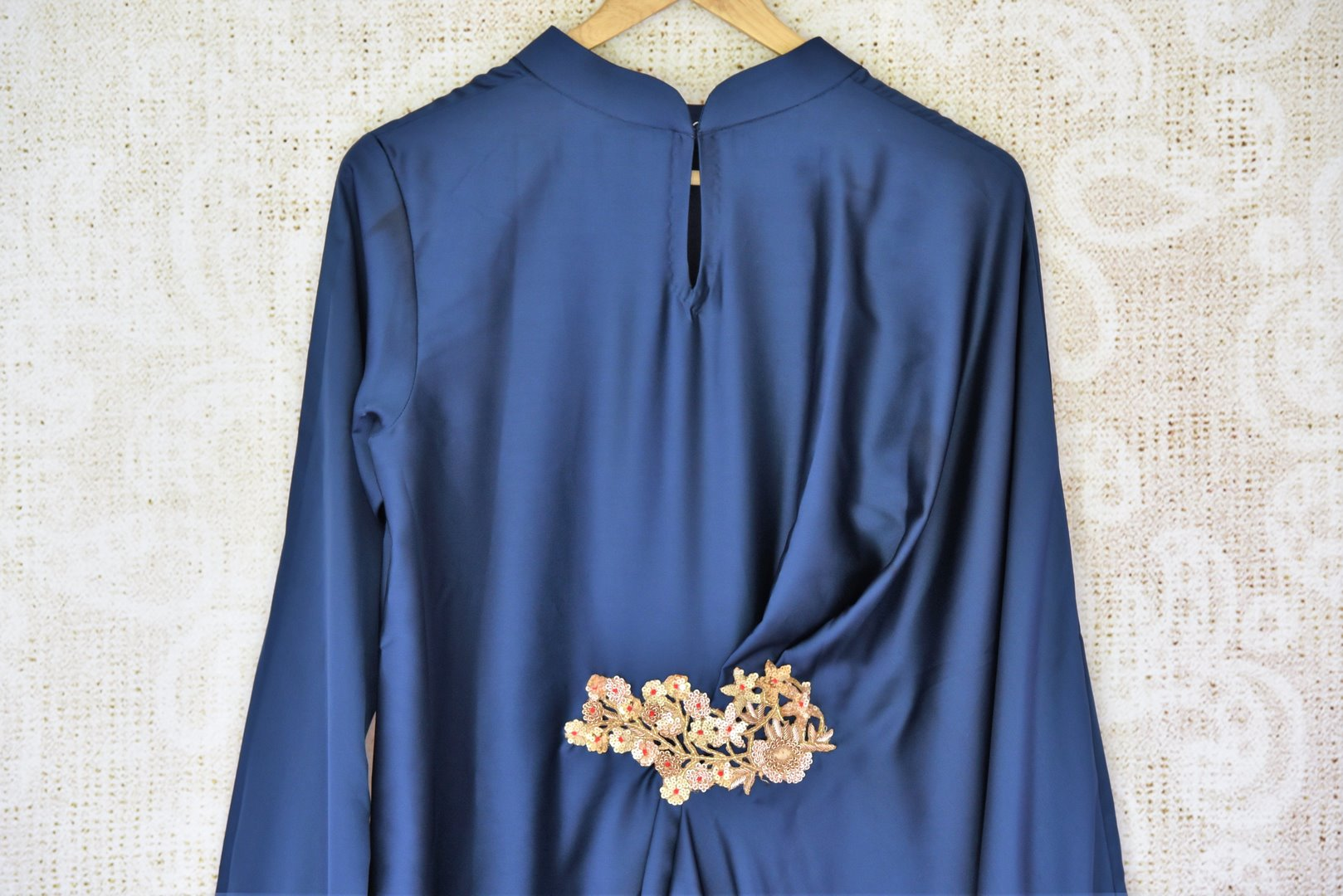Shop stunning blue hand embroidered silk draped dress online in USA. Be a vivid picture of ethnic fashion with an exquisite range of Indian designer clothing from Pure Elegance Indian clothing store in USA. Shop online.-closeup