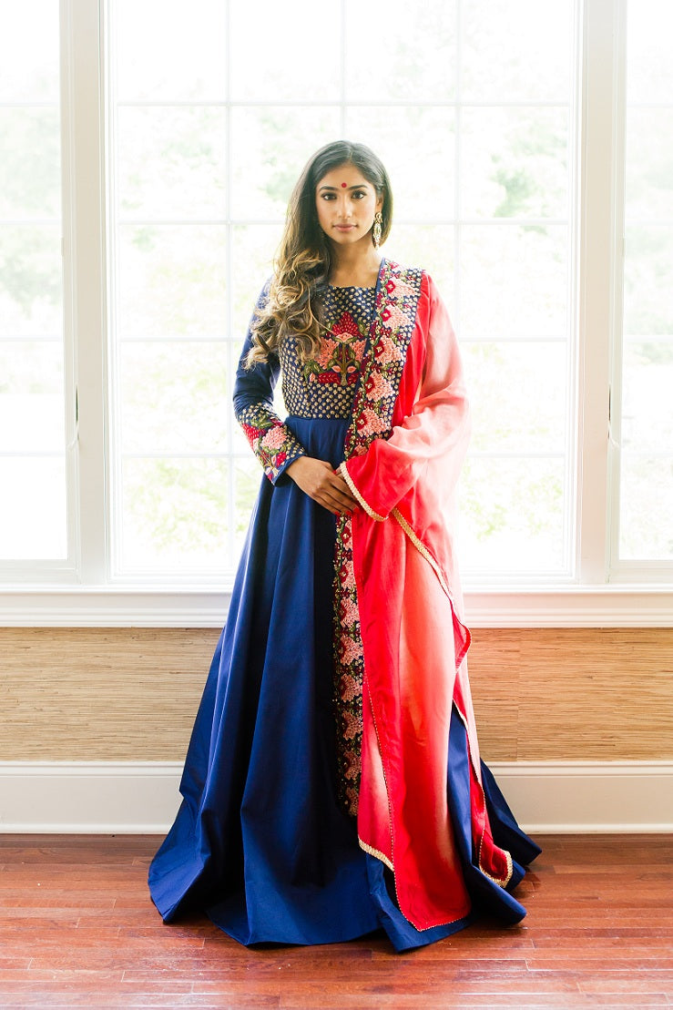 Shop blue embroidered silk Anarkali online in USA with red dupatta. Look glamorous at weddings and special occasions with a range of exquisite Indian designer Anarkalis from Pure Elegance Indian clothing store in USA.-full view