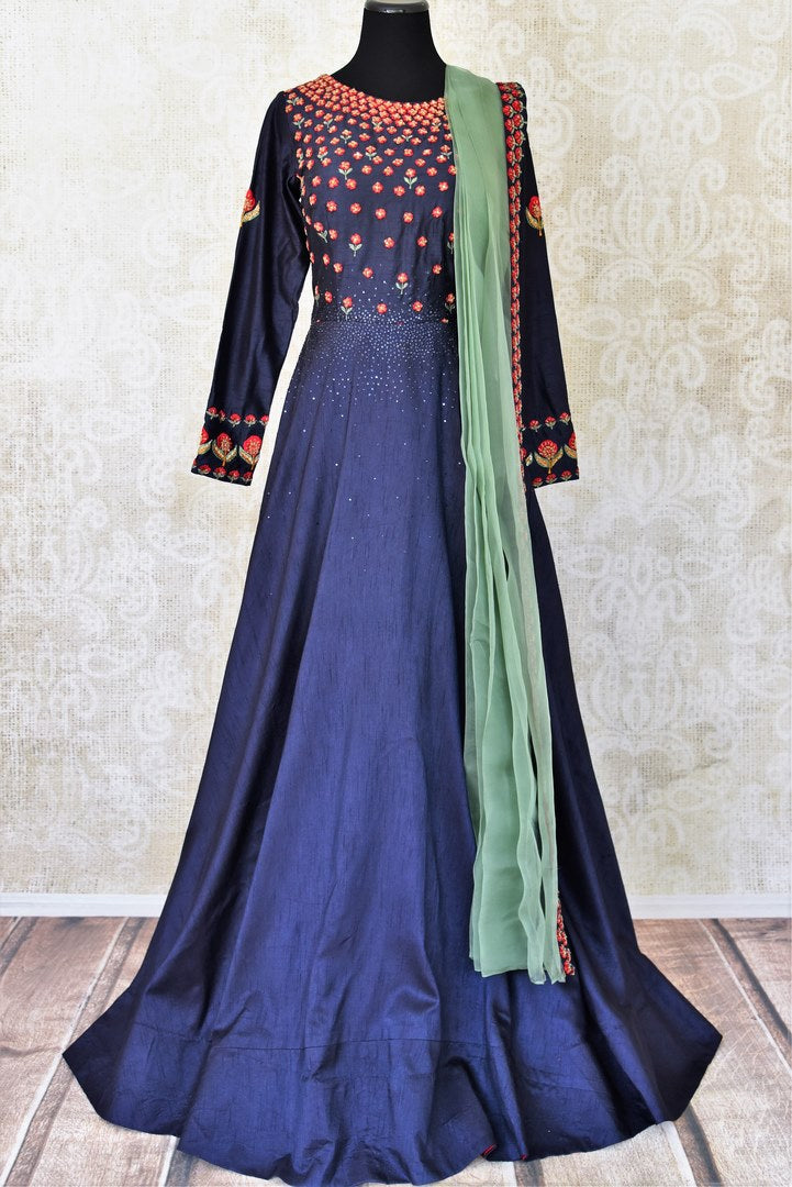 Buy navy blue embroidered silk Anarkali suit online in USA with green dupatta. Step up your ethnic fashion game with exquisite variety of designer Anarkali suits from Pure Elegance Indian clothing store in USA. Shop online.-full view
