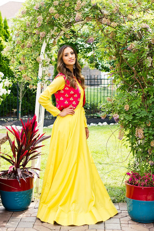 Buy yellow chanderi silk Anarkali online in USA with red embroidered vest. Look glamorous at weddings and special occasions with a range of exquisite Indian designer Anarkalis from Pure Elegance Indian clothing store in USA.-full view
