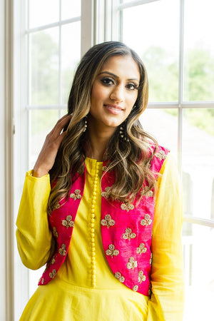 Buy yellow chanderi silk Anarkali online in USA with red embroidered vest. Look glamorous at weddings and special occasions with a range of exquisite Indian designer Anarkalis from Pure Elegance Indian clothing store in USA.-closeup