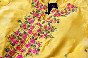 Buy yellow hand embroidered silk kurta with skirt online in USA. Channel your inner Indian diva with a range exquisite Indian designer dresses from Pure Elegance Indian fashion store in USA. Shop now.-details