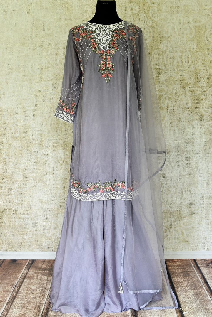 Buy grey silk hand embroidered sharara suit online in USA with dupatta. Elevate your traditional glam on weddings and special occasions with an exclusive range designer suits especially for Indian women in USA at Pure Elegance Indian fashion store. -full view