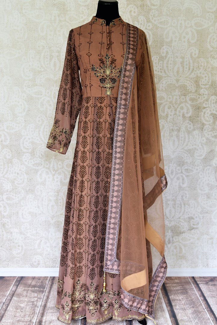 Buy brown hand embroidered georgette floorlength Anarkali online in USA with matching dupatta. Elevate your traditional glam on weddings and special occasions with an exclusive range designer suits especially for Indian women in USA at Pure Elegance Indian fashion store. -full view