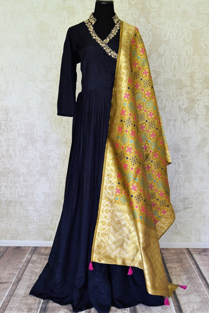 Buy elegant dark blue zardozi embroidery silk Anarkali suit online in USA with yellow dupatta. Step up your ethnic fashion game with exquisite variety of designer suits from Pure Elegance Indian clothing store in USA. Shop online.-full view