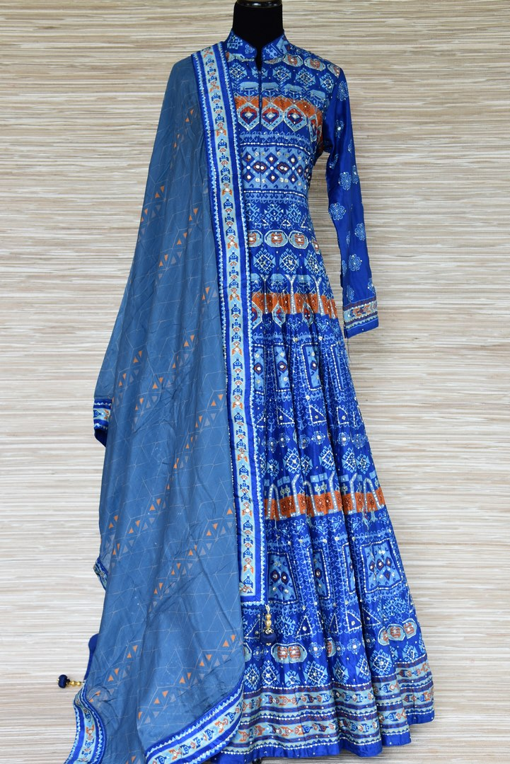 94037357a8 Shop blue embroidered silk Anarkali suit online in USA with dupatta. Shop  more such exquisite