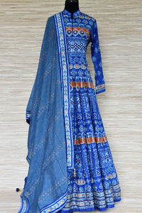 Shop blue embroidered silk Anarkali suit online in USA with dupatta. Shop more such exquisite designer Anarkali suits in USA from Pure Elegance Indian clothing store for women.-full view