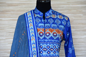 Shop blue embroidered silk Anarkali suit online in USA with dupatta. Shop more such exquisite designer Anarkali suits in USA from Pure Elegance Indian clothing store for women.-top
