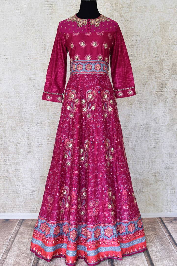 Shop magenta embroidered silk Anarkali dress online in USA. Shine bright on weddings and special occasions with beautiful Indian designer suits, Anarkali suits, designer lehengas from Pure Elegance Indian fashion store in USA.-full view
