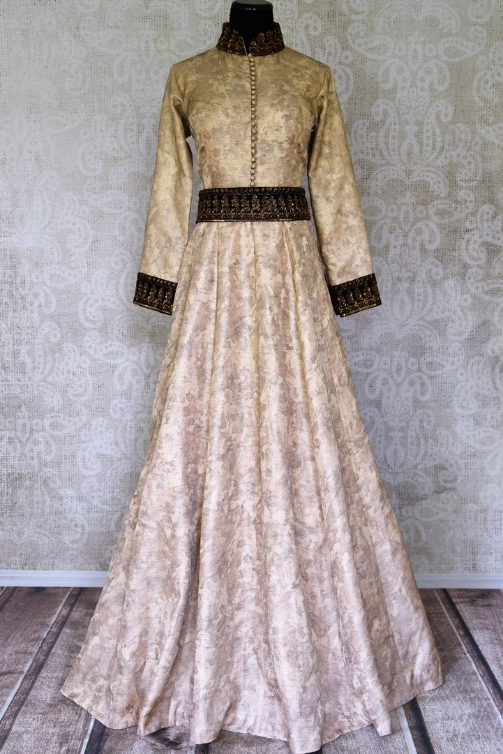 Buy stunning beige embroidered silk Anarkali dress online in USA. Shop the latest Indian women clothing and designer dresses for weddings and special occasions from Pure Elegance Indian clothing store in USA.-full view