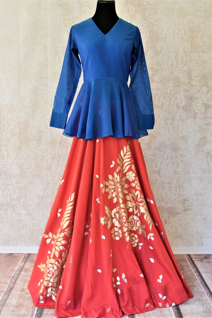 Buy gorgeous red and blue applique work silk skirt set online in USA. Get ready to dazzle during the festive season with exclusive collection Indian designer dresses, Anarkali suits, lehengas from Pure Elegance Indian clothing store in USA.-full view