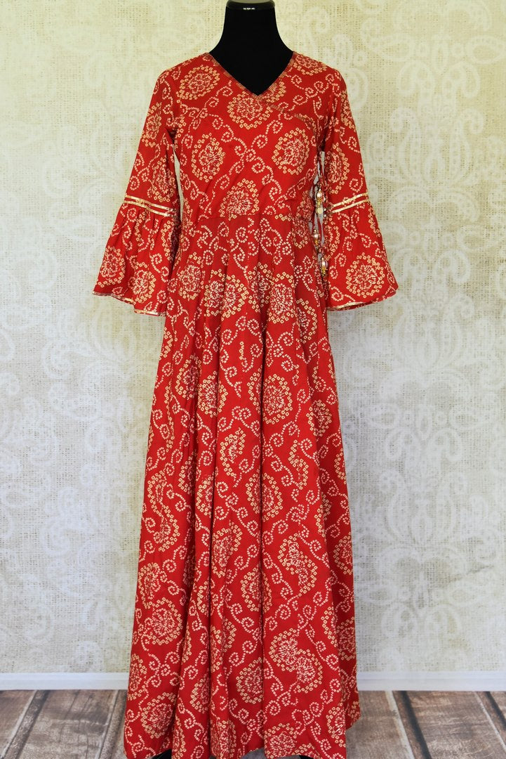 Buy red bandhej khari print embroidered cotton maxi dress online in USA. Flaunt your ethnic style with tasteful designer suits, Anarkali suits, Indian dresses from Pure Elegance Indian clothing store in USA.-full view