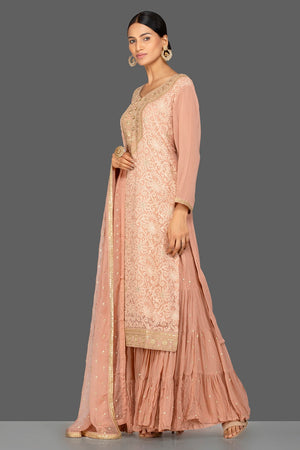 Buy beautiful dusty pink embroidered georgette sharara suit online in USA with dupatta. Be an epitome of Indian fashion with a premium range of designer suits, Anarkali dresses from Pure Elegance luxury Indian fashion store in USA. Buy online now.-side