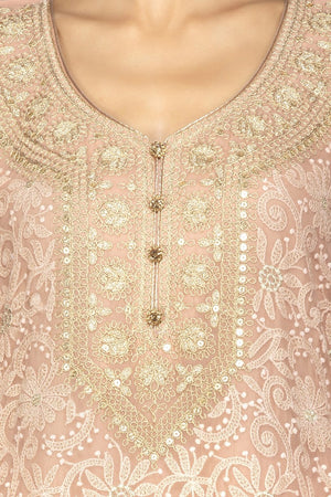 Buy beautiful dusty pink embroidered georgette sharara suit online in USA with dupatta. Be an epitome of Indian fashion with a premium range of designer suits, Anarkali dresses from Pure Elegance luxury Indian fashion store in USA. Buy online now.-closeup