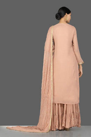 Buy beautiful dusty pink embroidered georgette sharara suit online in USA with dupatta. Be an epitome of Indian fashion with a premium range of designer suits, Anarkali dresses from Pure Elegance luxury Indian fashion store in USA. Buy online now.-back