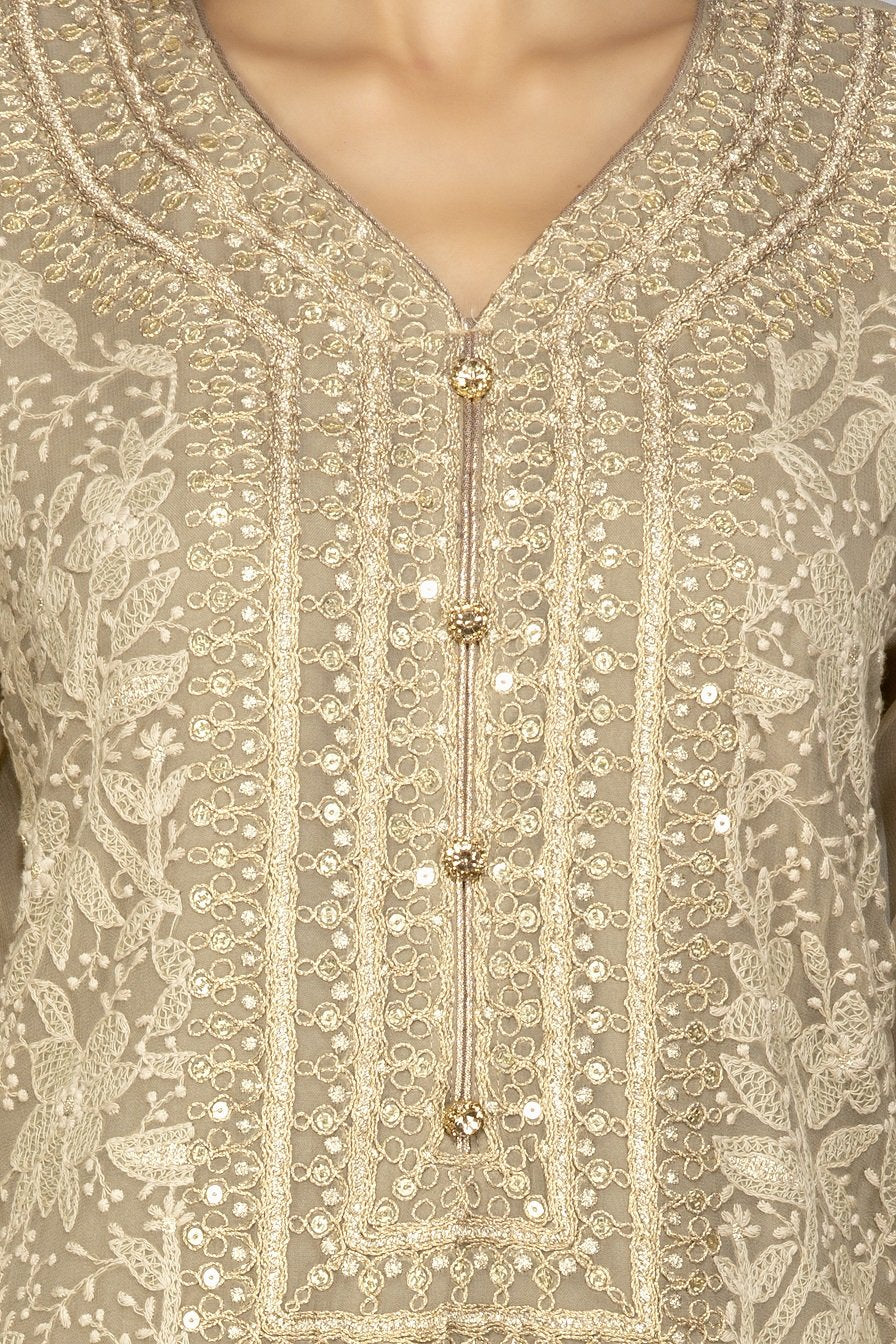 Shop gorgeous beige embroidered georgette sharara suit online in USA with dupatta. Be an epitome of Indian fashion with a premium range of designer suits, Anarkali dresses from Pure Elegance luxury Indian fashion store in USA. Buy online now.-closeup