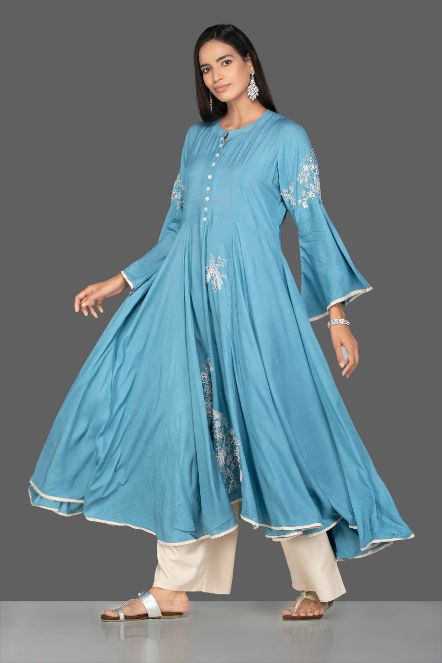 Shop lovely blue modal silk palazzo suit online in USA. Be an epitome of Indian fashion with a premium range of designer suits, Anarkali dresses from Pure Elegance luxury Indian fashion store in USA. Buy online now.-full view