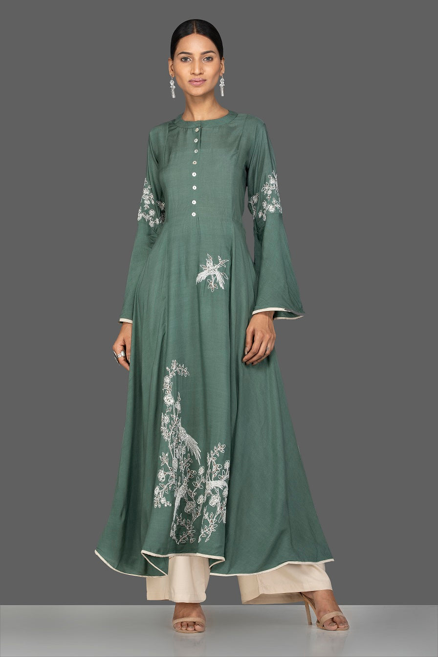 Buy elegant green modal silk resham work suit online in USA with palazzo. Go for an extraordinary traditional look with splendid designer Anarkali suits. salwar suits from Pure Elegance from Indian boutique in USA.  Shop online or visit our store now.-full view