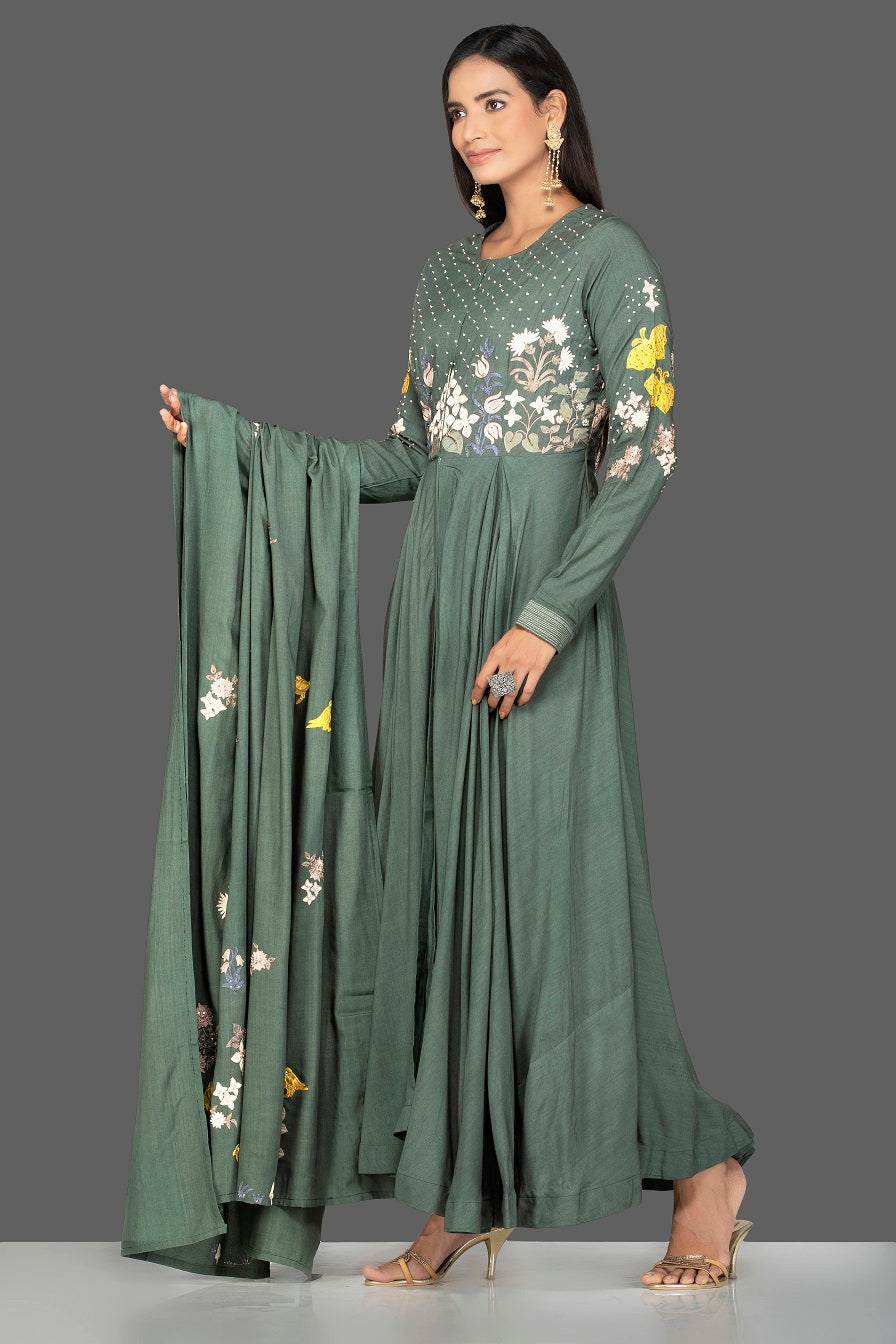 Shop beautiful green modal silk resham embroidery Anarkali online in USA with dupatta. Go for an extraordinary traditional look with splendid designer Anarkali suits. salwar suits from Pure Elegance from Indian boutique in USA.  Shop online or visit our store now.-side