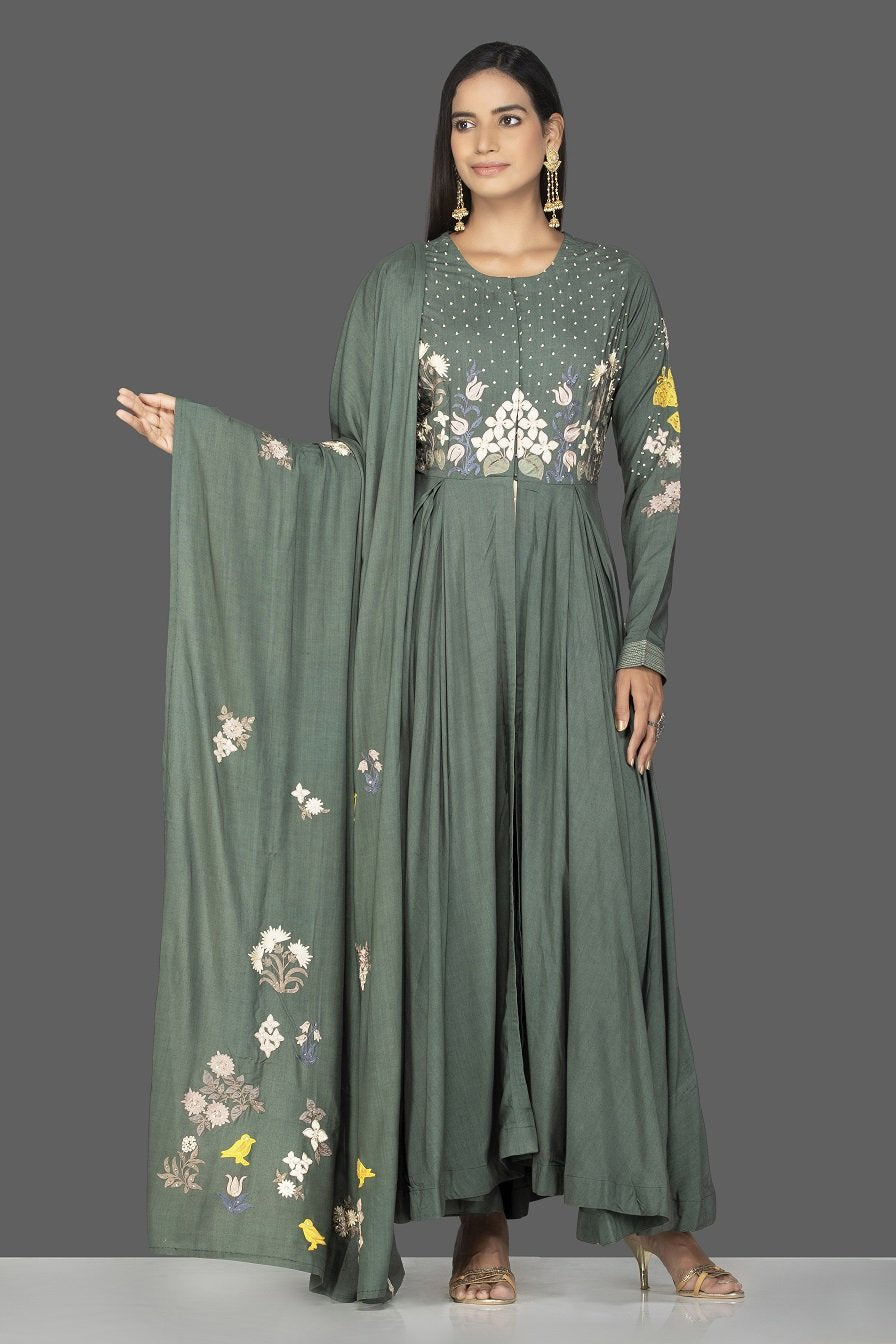 Shop beautiful green modal silk resham embroidery Anarkali online in USA with dupatta. Go for an extraordinary traditional look with splendid designer Anarkali suits. salwar suits from Pure Elegance from Indian boutique in USA.  Shop online or visit our store now.-full view