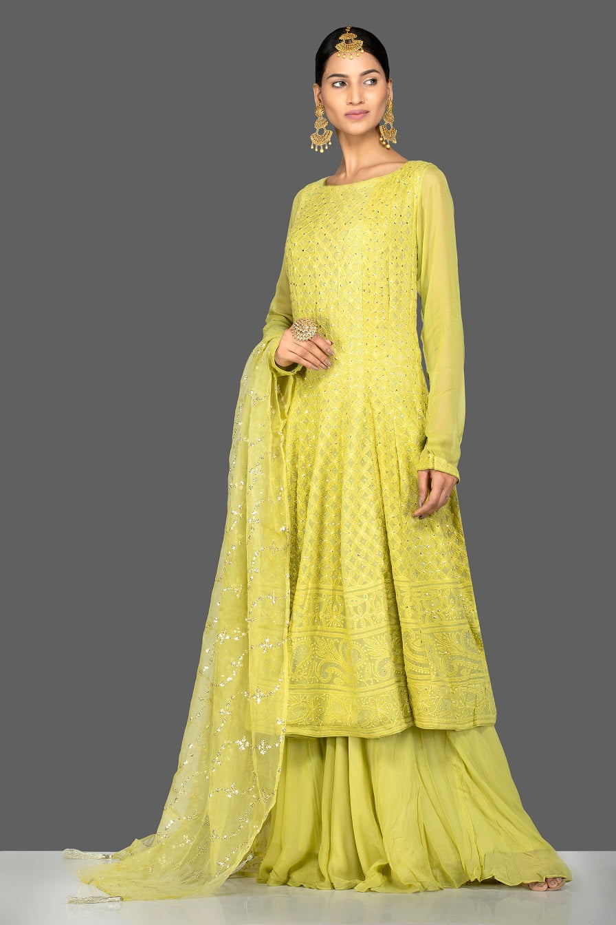 Buy beautiful pista green georgette Lucknowi sharara suit online in USA with dupatta. Go for an extraordinary traditional look with splendid designer Anarkali suits. salwar suits from Pure Elegance from Indian boutique in USA.  Shop online or visit our store now.-full view