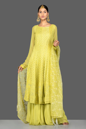 Buy beautiful pista green georgette Lucknowi sharara suit online in USA with dupatta. Go for an extraordinary traditional look with splendid designer Anarkali suits. salwar suits from Pure Elegance from Indian boutique in USA.  Shop online or visit our store now.-front