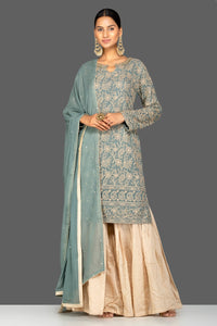 Shop beautiful grey and cream resham thread embroidery palazzo suit online in USA with dupatta. Turn heads at weddings and festive occasions with exquisite Indian women designer clothes from Pure Elegance Indian fashion store in USA. Shop now.-full view