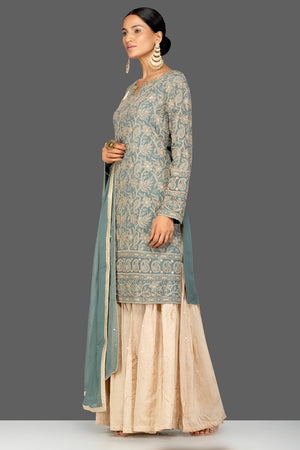 Shop beautiful grey and cream resham thread embroidery palazzo suit online in USA with dupatta. Turn heads at weddings and festive occasions with exquisite Indian women designer clothes from Pure Elegance Indian fashion store in USA. Shop now.-side