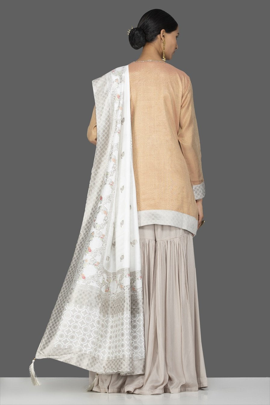 Shop gorgeous golden and grey tissue silk and Banarasi sharara online in USA with matching dupatta. Turn heads at weddings and festive occasions with exquisite Indian women designer clothes from Pure Elegance Indian fashion store in USA. Shop now.-back