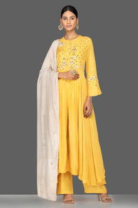 Shop yellow modal silk resham embroidery palazzo suit online in USA. Shop exquisite Indian designer clothes for women from Pure Elegance Indian boutique in USA. We have a splendid variety of designer Anarkali suits, traditional salwar suits, sharara suits  for parties and weddings all under one roof.-full view