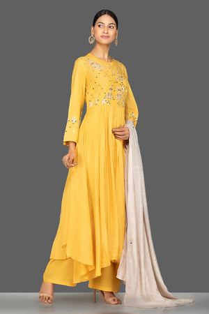 Shop yellow modal silk resham embroidery palazzo suit online in USA. Shop exquisite Indian designer clothes for women from Pure Elegance Indian boutique in USA. We have a splendid variety of designer Anarkali suits, traditional salwar suits, sharara suits  for parties and weddings all under one roof.-side