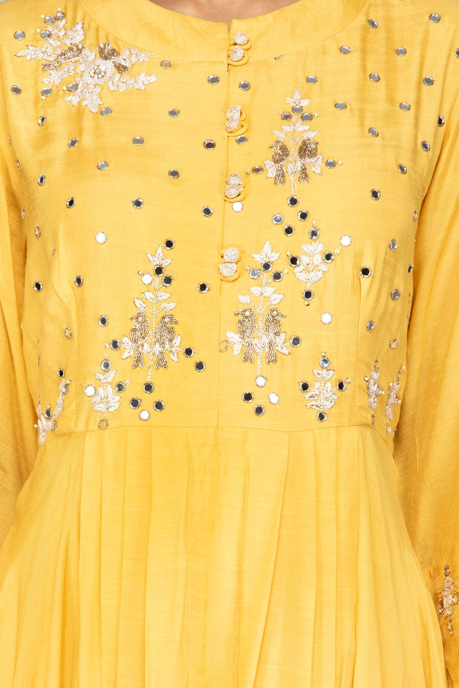 Shop yellow modal silk resham embroidery palazzo suit online in USA. Shop exquisite Indian designer clothes for women from Pure Elegance Indian boutique in USA. We have a splendid variety of designer Anarkali suits, traditional salwar suits, sharara suits  for parties and weddings all under one roof.-neckline