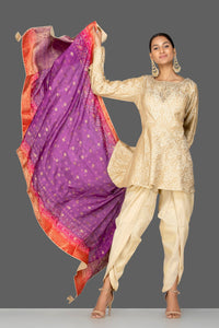 Buy cream embroidered brocade silk salwar suit online in USA with bandhej dupatta. Shop exquisite Indian designer clothes for women from Pure Elegance Indian boutique in USA. We have a splendid variety of designer Anarkali suits, traditional salwar suits, sharara suits  for parties and weddings all under one roof.-full view