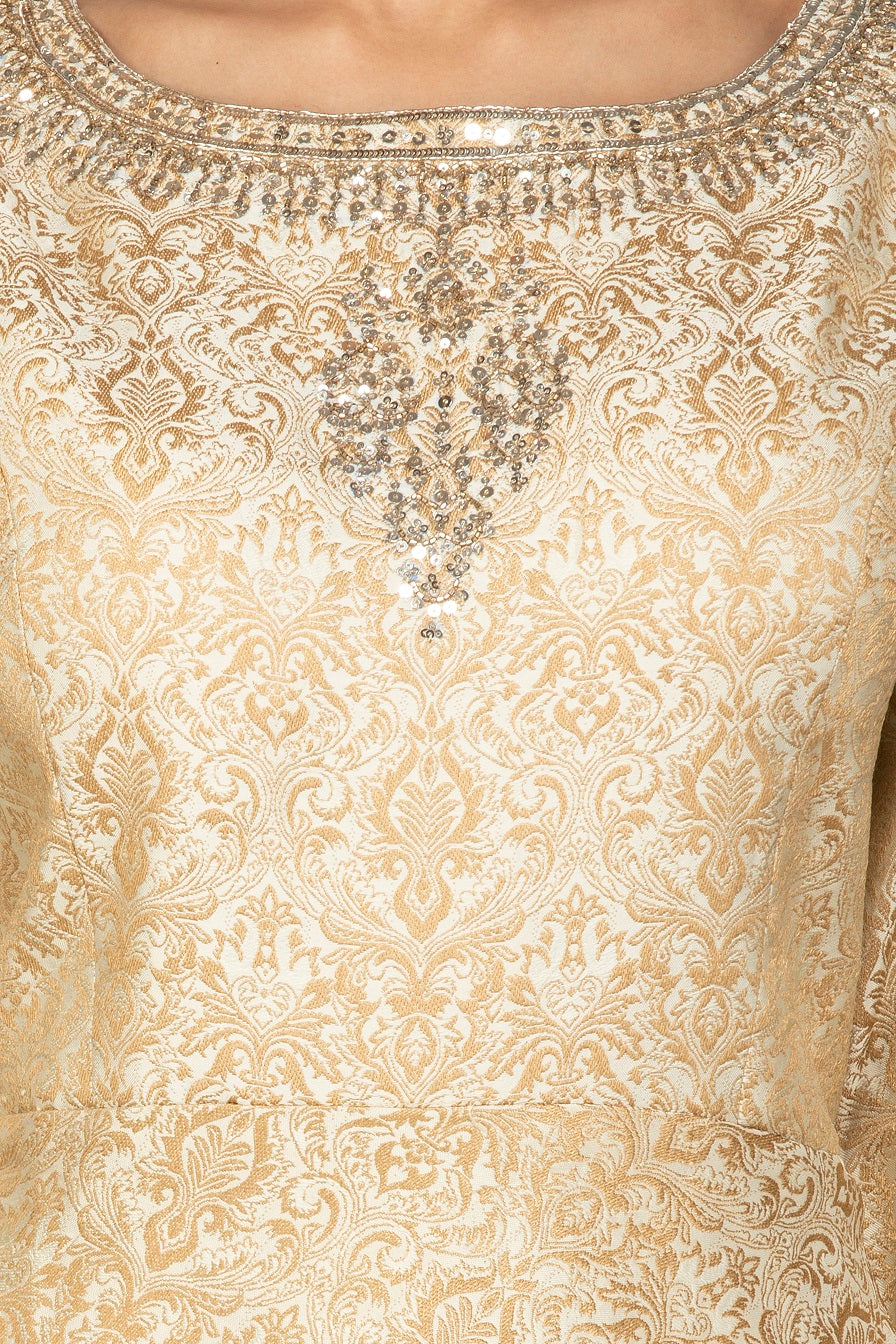 Buy cream embroidered brocade silk salwar suit online in USA with bandhej dupatta. Shop exquisite Indian designer clothes for women from Pure Elegance Indian boutique in USA. We have a splendid variety of designer Anarkali suits, traditional salwar suits, sharara suits  for parties and weddings all under one roof.-neckline