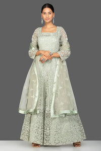 Shop grey stone and resham embroidery net Anarkali online in USA with dupatta. Make a stunning fashion statement at weddings and special occasions with an exquisite collection of designer Anarkali suits, traditional salwar suits, bridal lehengas from Pure Elegance Indian fashion store in USA. -full view