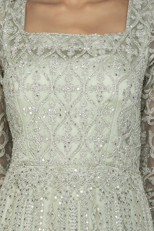 Shop grey stone and resham embroidery net Anarkali online in USA with dupatta. Make a stunning fashion statement at weddings and special occasions with an exquisite collection of designer Anarkali suits, traditional salwar suits, bridal lehengas from Pure Elegance Indian fashion store in USA. -neckline