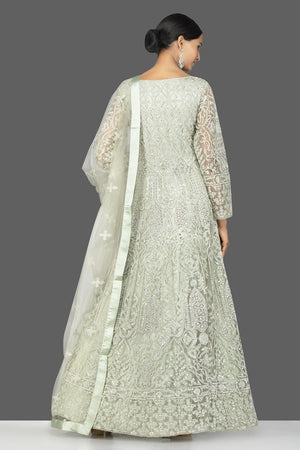 Shop grey stone and resham embroidery net Anarkali online in USA with dupatta. Make a stunning fashion statement at weddings and special occasions with an exquisite collection of designer Anarkali suits, traditional salwar suits, bridal lehengas from Pure Elegance Indian fashion store in USA. -back