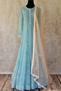 Shop sky blue georgette hand work Anarkali online in USA with cream dupatta. Make your ethnic wardrobe rich and colorful with stunning designer Anarkali suits, palazzo suits, traditional salwar suits from Pure Elegance Indian clothing store in USA.-full view