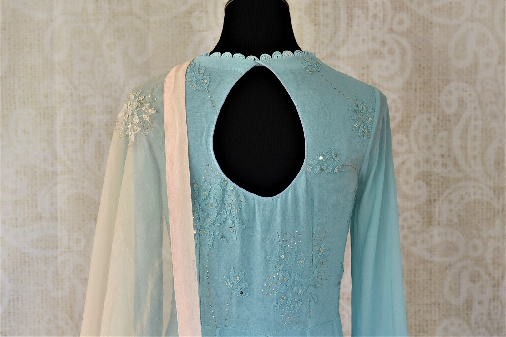 Shop sky blue georgette hand work Anarkali online in USA with cream dupatta. Make your ethnic wardrobe rich and colorful with stunning designer Anarkali suits, palazzo suits, traditional salwar suits from Pure Elegance Indian clothing store in USA.-back