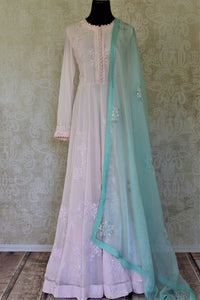 Shop lovely powder pink georgette hand work Anarkali online in USA with mint green dupatta. Make your ethnic wardrobe rich and colorful with stunning designer Anarkali suits, palazzo suits, traditional salwar suits from Pure Elegance Indian clothing store in USA.-full view