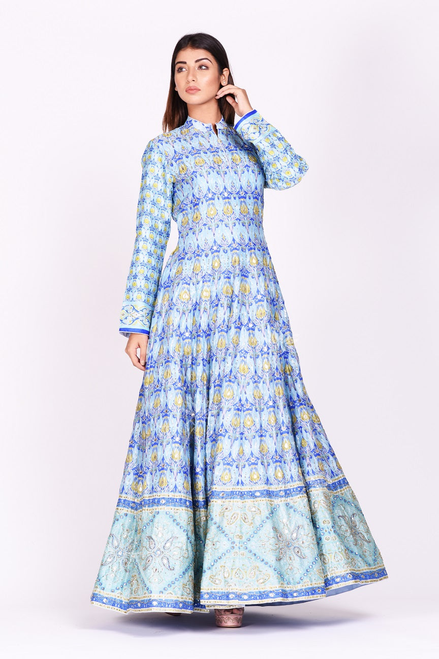 Buy beautiful sky blue printed and embroidered silk Anarkali suit online in USA. Make a stunning fashion statement at weddings and special occasions with an exquisite collection of designer Anarkali suits, traditional salwar suits, designer lehengas from Pure Elegance Indian fashion store in USA. -full view